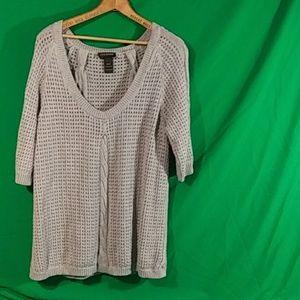 Lane Bryant gray open knit sweater 14/16